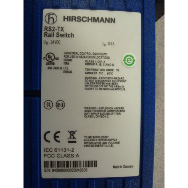 HIrschmann RS2-TX Rail Switch 8 x 10/100Mbps Used