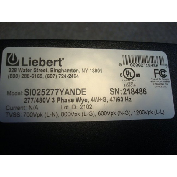 Liebert SI025277YANDE Interceptor Surge Suppressor Used