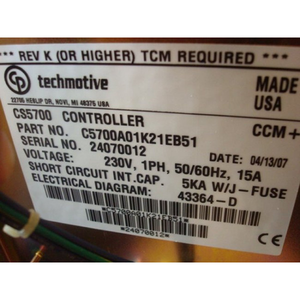 CP Techmotive CS5700 Controller C5700A01K21EB51 Used