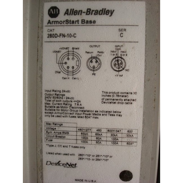 Allen Bradley ArmorStart Motor Controller Unit 280D-F12Z-10B-CRW 1.5HP Used