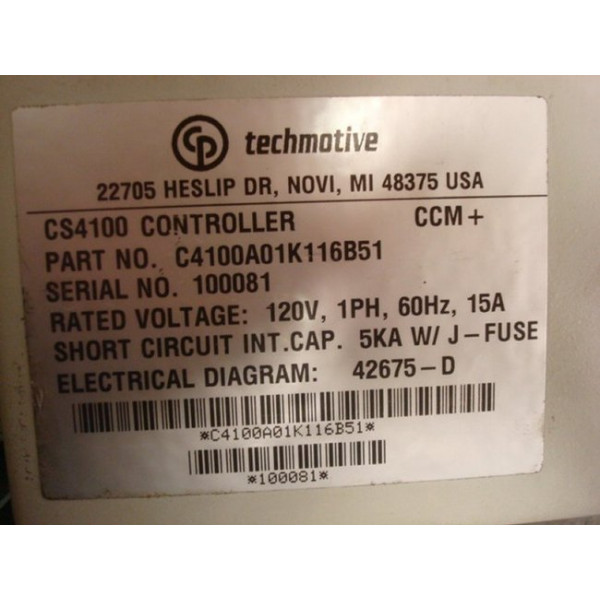 Techmotive CS4100 Controller C4100A01K116B51 Used
