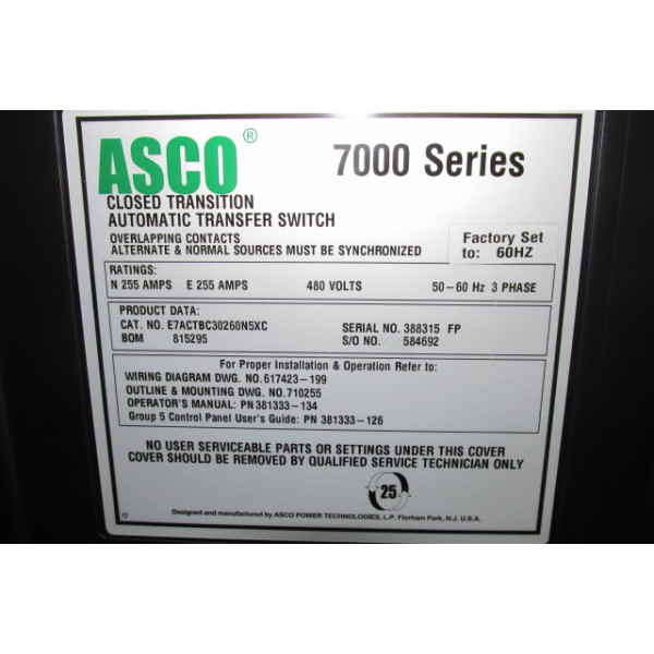 Used 250 Amp Automatic Transfer Switch By Asco 7000 Series