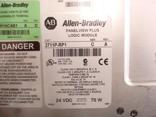 Allen Bradley 2711P-B10C4B1 PanelView Plus 1000 Operator Interface Ser  A  Used