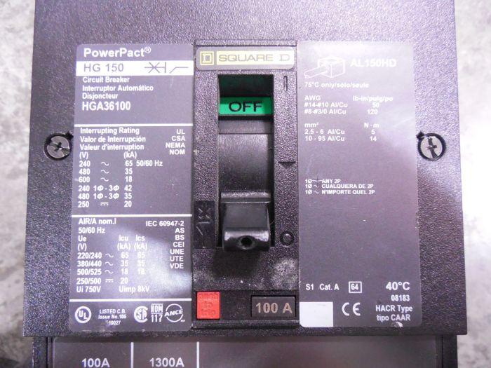 NEW NO BOX Square D 100 Amp 3 Pole I-Line Circuit Breaker HGA36100 PowerPact