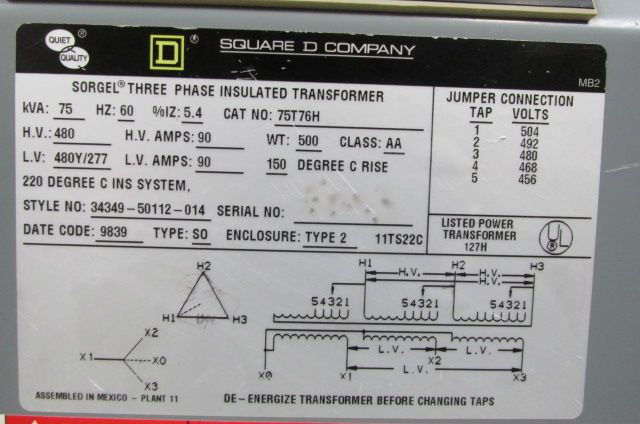 Square D 480 Volt Transformer Wiring Diagram