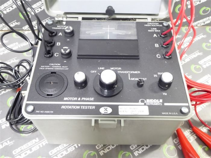 Biddle Instruments 560400 Motor Phase Rotation Tester Used