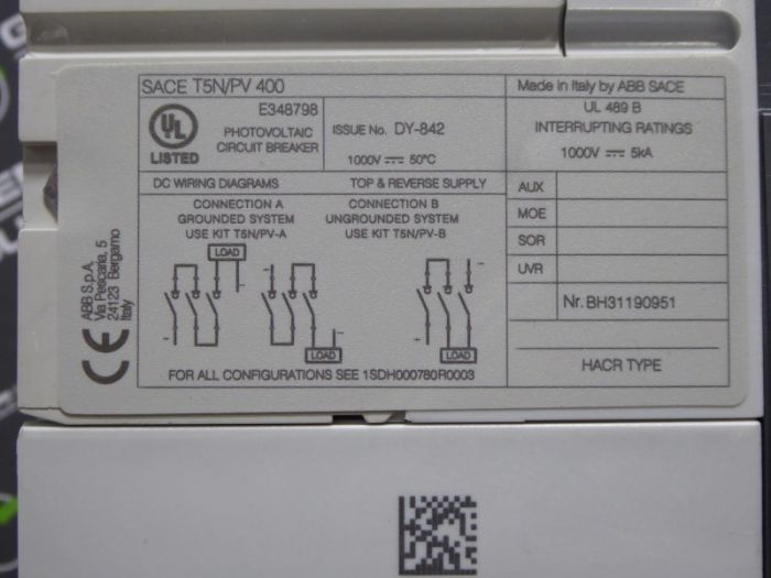 ABB SACE T5N PV 400 Circuit Breaker 400 Amps 1000 VAC 3 Pole 400 A  Wiring Diagram Breaker on