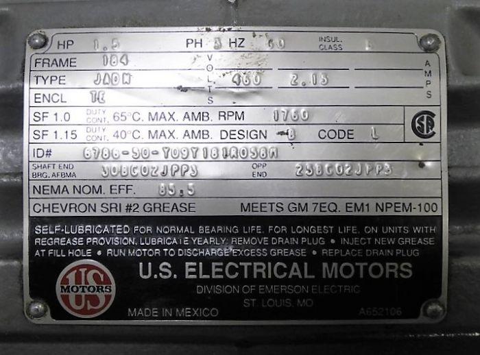 1 5 HP US Motors 5K38RN30 Motor 460V 1760 RPM 184 Frame 3 Phase Used
